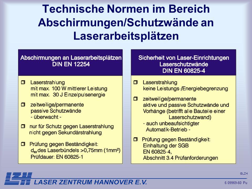 ©LZH Technische Normen im Bereich Abschirmungen/Schutzwände an Laserarbeitsplätzen 6 09969-60 Pu