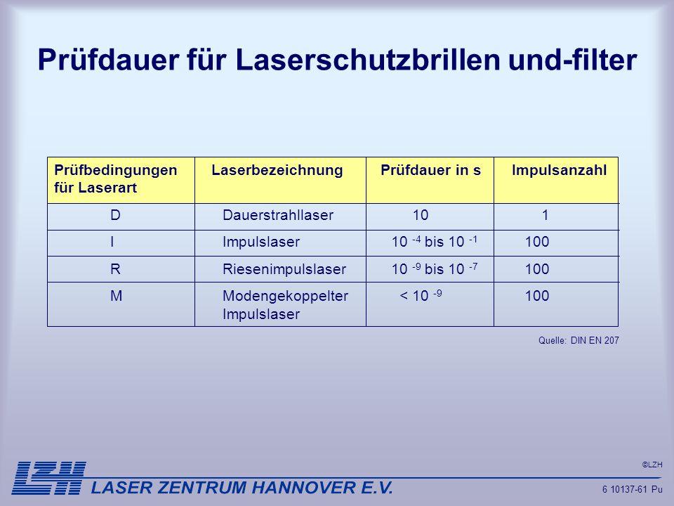 ©LZH Prüfdauer für Laserschutzbrillen und-filter 6 10137-61 Pu Prüfbedingungen Laserbezeichnung Prüfdauer in s Impulsanzahl für Laserart DDauerstrahll