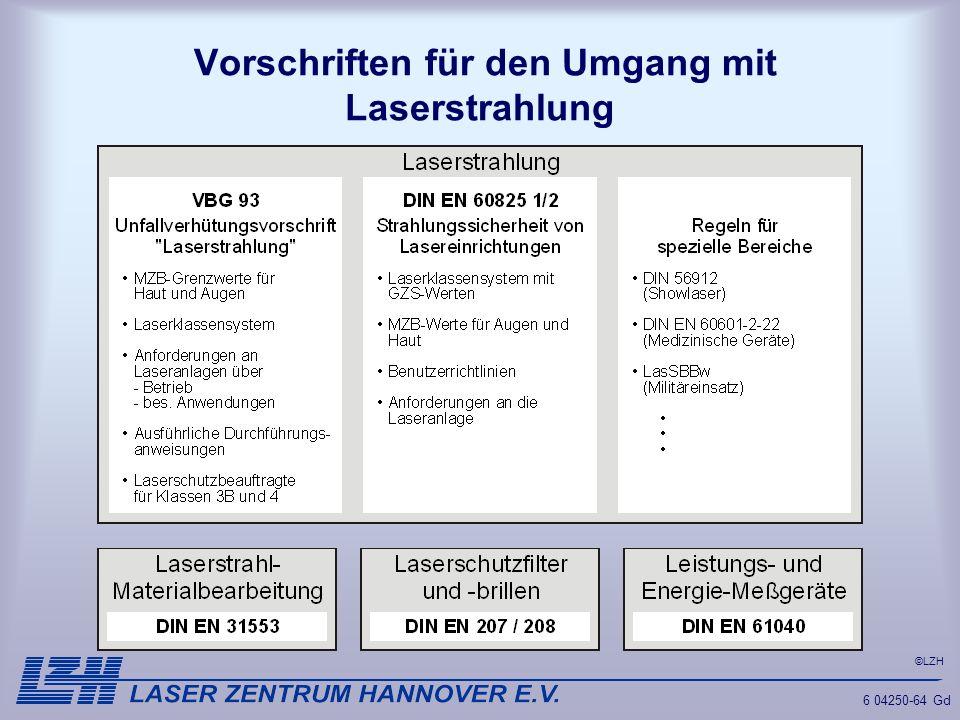 ©LZH 6 04250-64 Gd Vorschriften für den Umgang mit Laserstrahlung