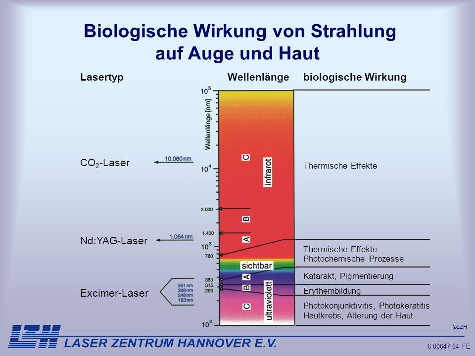 ©LZH 6 00647-64 FE Biologische Wirkung von Strahlung auf Auge und Haut Lasertyp CO 2 -Laser Nd:YAG-Laser Excimer-Laser Wellenlänge biologische Wirkung