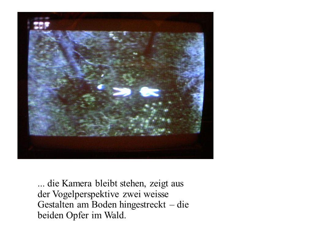 ... die Kamera bleibt stehen, zeigt aus der Vogelperspektive zwei weisse Gestalten am Boden hingestreckt – die beiden Opfer im Wald.