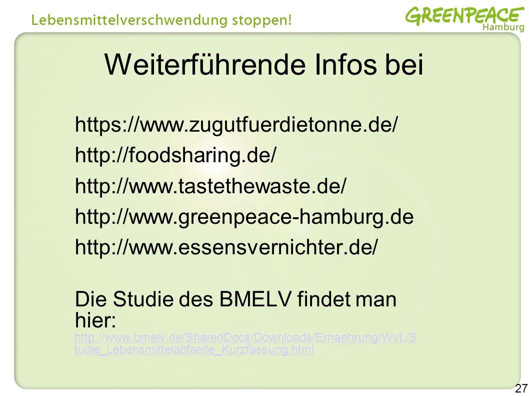 27 Weiterführende Infos bei https://www.zugutfuerdietonne.de/ http://foodsharing.de/ http://www.tastethewaste.de/ http://www.greenpeace-hamburg.de htt