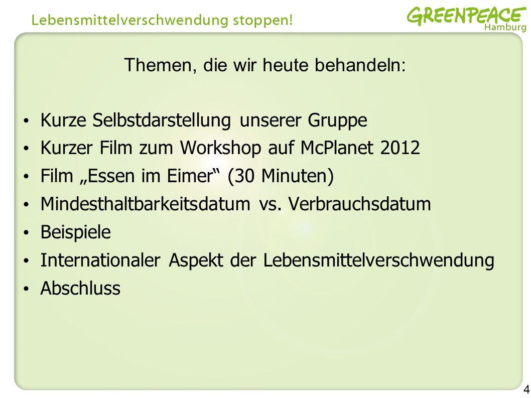 4 Themen, die wir heute behandeln: Kurze Selbstdarstellung unserer Gruppe Kurzer Film zum Workshop auf McPlanet 2012 Film Essen im Eimer (30 Minuten)