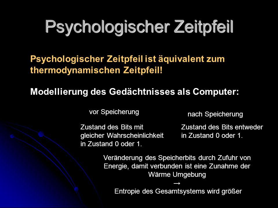 Psychologischer Zeitpfeil Psychologischer Zeitpfeil ist äquivalent zum thermodynamischen Zeitpfeil! Modellierung des Gedächtnisses als Computer: vor S
