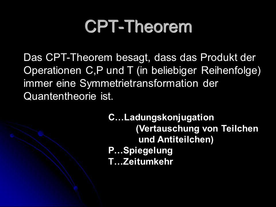 CPT-Theorem Das CPT-Theorem besagt, dass das Produkt der Operationen C,P und T (in beliebiger Reihenfolge) immer eine Symmetrietransformation der Quan