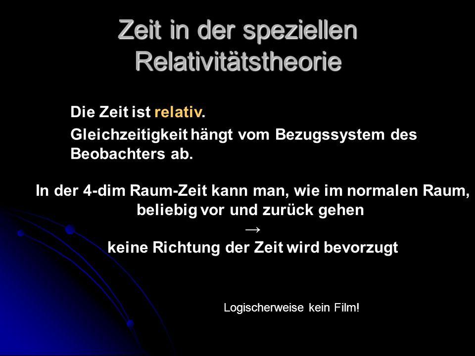 Zeit in der speziellen Relativitätstheorie Die Zeit ist relativ. Gleichzeitigkeit hängt vom Bezugssystem des Beobachters ab. Logischerweise kein Film!