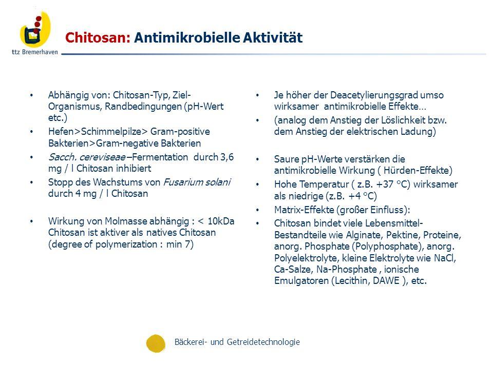 Bäckerei- und Getreidetechnologie Chitosan: Antimikrobielle Aktivität Abhängig von: Chitosan-Typ, Ziel- Organismus, Randbedingungen (pH-Wert etc.) Hef