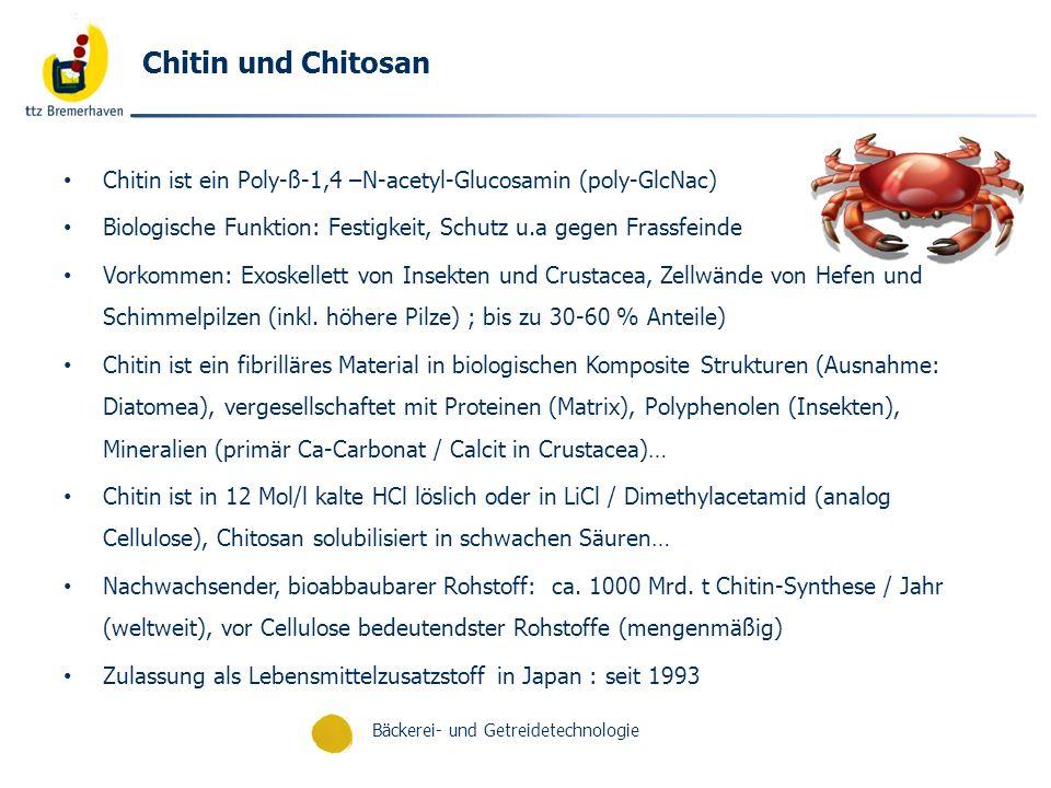 Bäckerei- und Getreidetechnologie Chitin und Chitosan Chitin ist ein Poly-ß-1,4 –N-acetyl-Glucosamin (poly-GlcNac) Biologische Funktion: Festigkeit, S