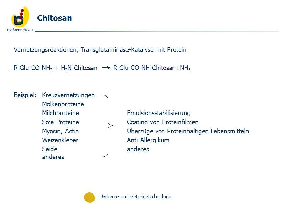 Bäckerei- und Getreidetechnologie Chitosan Vernetzungsreaktionen, Transglutaminase-Katalyse mit Protein R-Glu-CO-NH 2 + H 2 N-Chitosan R-Glu-CO-NH-Chi