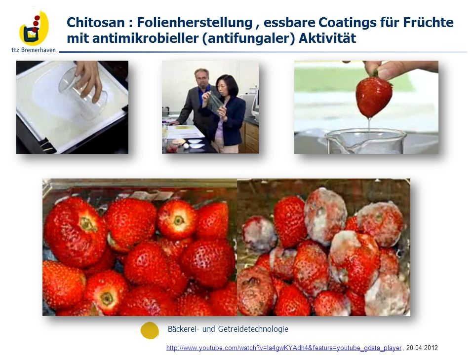 Bäckerei- und Getreidetechnologie http://www.youtube.com/watch?v=Ia4gwKYAdh4&feature=youtube_gdata_playerhttp://www.youtube.com/watch?v=Ia4gwKYAdh4&feature=youtube_gdata_player, 20.04.2012 Chitosan : Folienherstellung, essbare Coatings für Früchte mit antimikrobieller (antifungaler) Aktivität