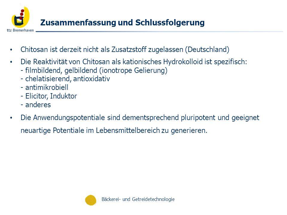 Bäckerei- und Getreidetechnologie Zusammenfassung und Schlussfolgerung Chitosan ist derzeit nicht als Zusatzstoff zugelassen (Deutschland) Die Reaktiv