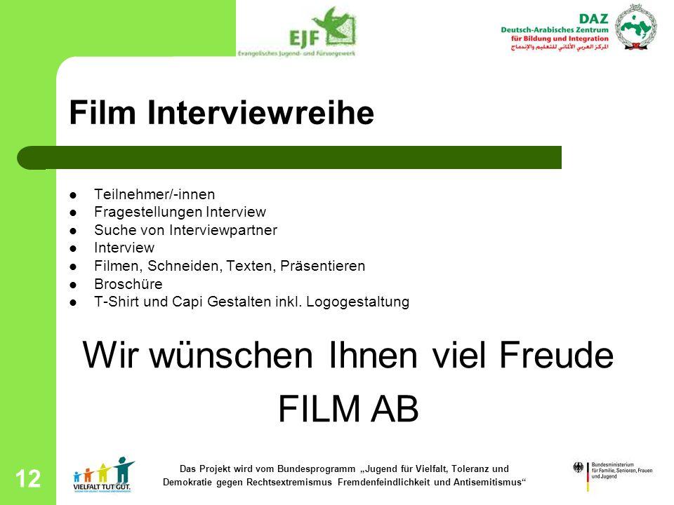 12 Film Interviewreihe Teilnehmer/-innen Fragestellungen Interview Suche von Interviewpartner Interview Filmen, Schneiden, Texten, Präsentieren Brosch