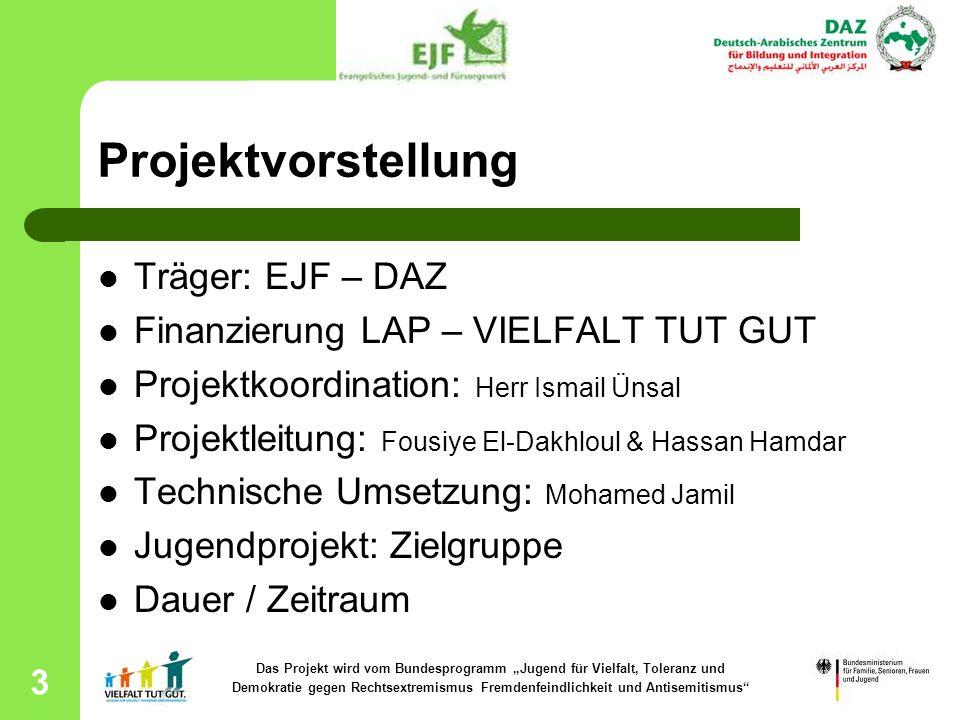 3 Projektvorstellung Träger: EJF – DAZ Finanzierung LAP – VIELFALT TUT GUT Projektkoordination: Herr Ismail Ünsal Projektleitung: Fousiye El-Dakhloul