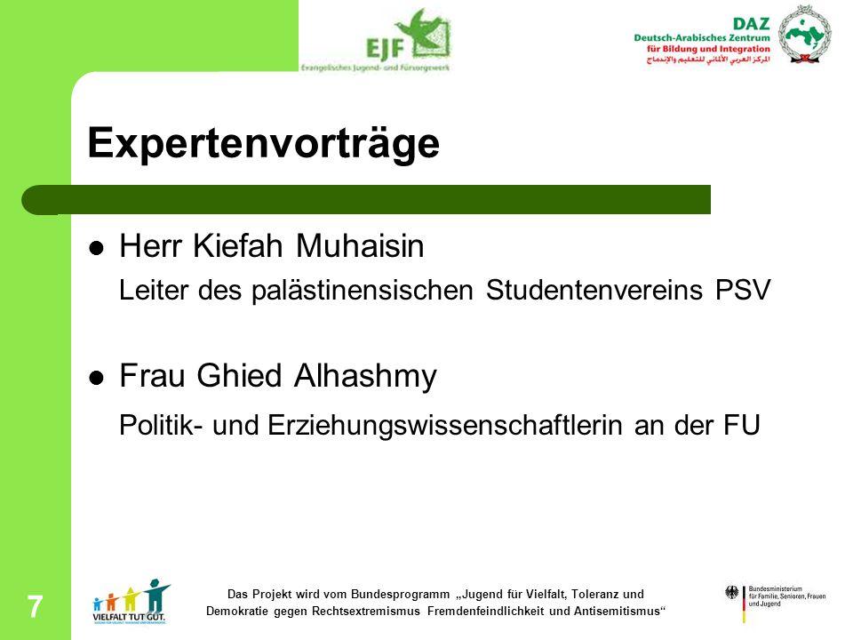 7 Expertenvorträge Herr Kiefah Muhaisin Leiter des palästinensischen Studentenvereins PSV Frau Ghied Alhashmy Politik- und Erziehungswissenschaftlerin