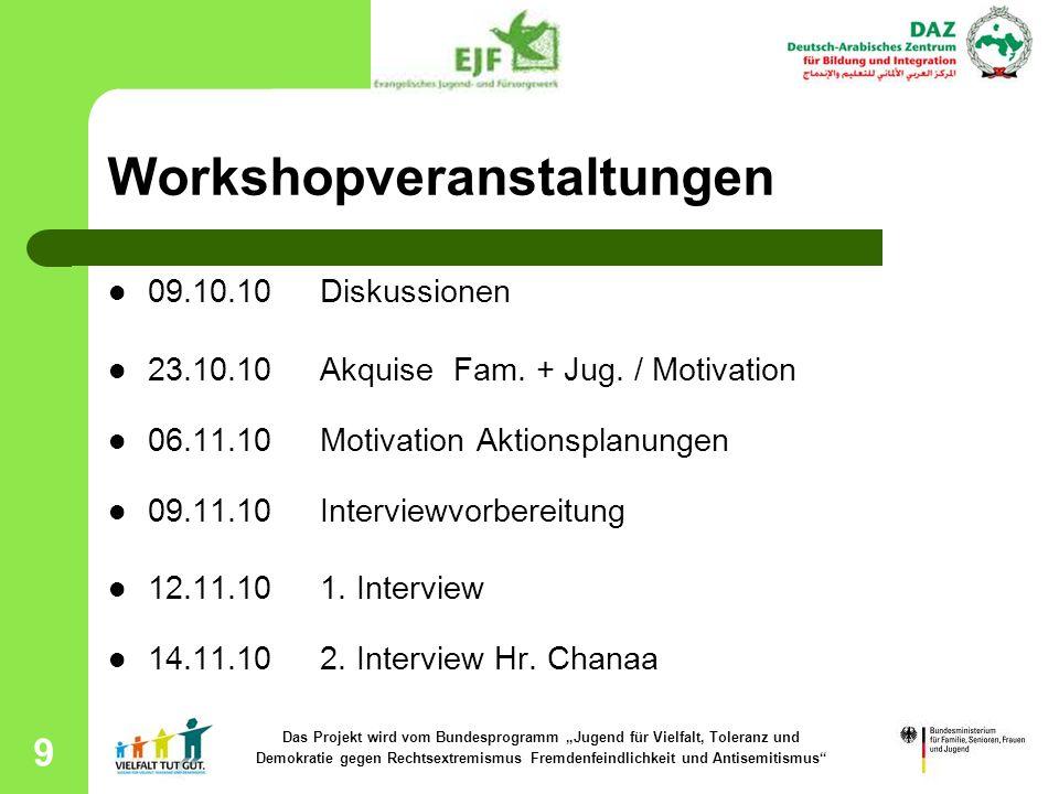 10 Workshopveranstaltungen 19.11.10 3.