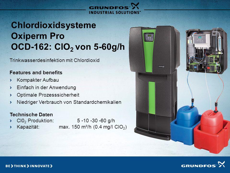 Konzept ClO 2 Generatoren mit maximalen Leistungen bis zu 60 g/h Betrieb mit Standardchemikalien - Natriumchlorit (NaClO 2 ) 7,5 % - Salzsäure (HCl) 9% ClO 2 Konzentration: 2 g/l (2000 ppm) - Keine gefährlichen Konzentrationen im System - Optimale Stabilität (-15 % nach 3 Tagen) - Reaktionszeit < 20 Minuten Leichte Bedienung + geringer Wartungsaufwand Geringe Investitionen + hoher Qualitätsstandard