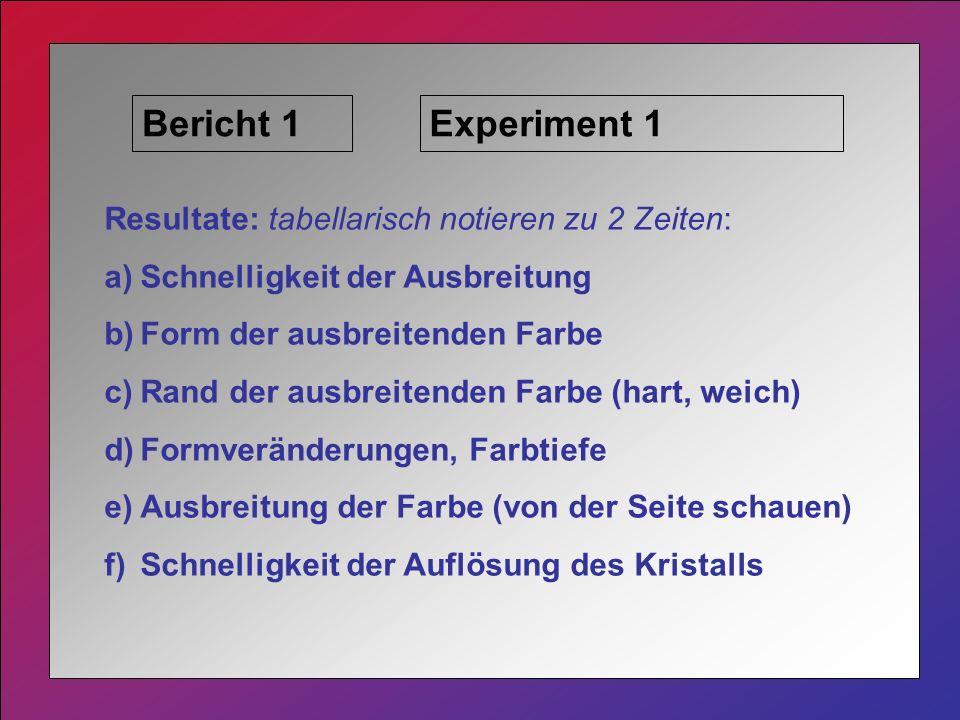 Bericht 1Experiment 1 Resultate: tabellarisch notieren zu 2 Zeiten: a)Schnelligkeit der Ausbreitung b)Form der ausbreitenden Farbe c)Rand der ausbreitenden Farbe (hart, weich) d)Formveränderungen, Farbtiefe e)Ausbreitung der Farbe (von der Seite schauen) f)Schnelligkeit der Auflösung des Kristalls