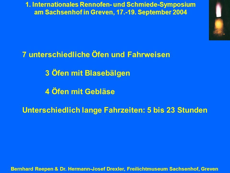 1. Internationales Rennofen- und Schmiede-Symposium am Sachsenhof in Greven, 17.-19. September 2004 Bernhard Reepen & Dr. Hermann-Josef Drexler, Freil