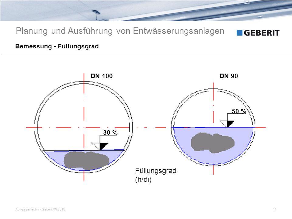 Abwassertechnik Geberit 06.201011 Bemessung - Füllungsgrad 50 % 30 % DN 100DN 90 Planung und Ausführung von Entwässerungsanlagen Füllungsgrad (h/di)