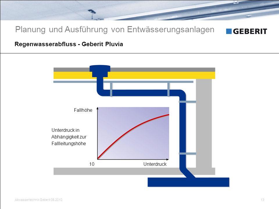 Abwassertechnik Geberit 06.201013 Regenwasserabfluss - Geberit Pluvia Planung und Ausführung von Entwässerungsanlagen Fallhöhe Unterdruck10 Unterdruck