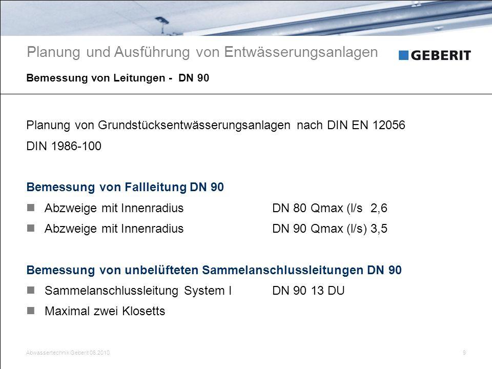 Abwassertechnik Geberit 06.201010 Bemessung - Füllungsgrad von Leitungen Planung und Ausführung von Entwässerungsanlagen Ideale Voraussetzung für eine hydraulisch einwandfreie Funktion sind gegeben Stationäre und gleichförmige Strömung Füllungsgrad (h/di) 0.5 Fließgeschwindigkeit v 0.5m/s Unbelüftete Anschlussleitung Gefälle min.1cm/m, Länge max.4.0m Hydraulik Film Füllungsgrad