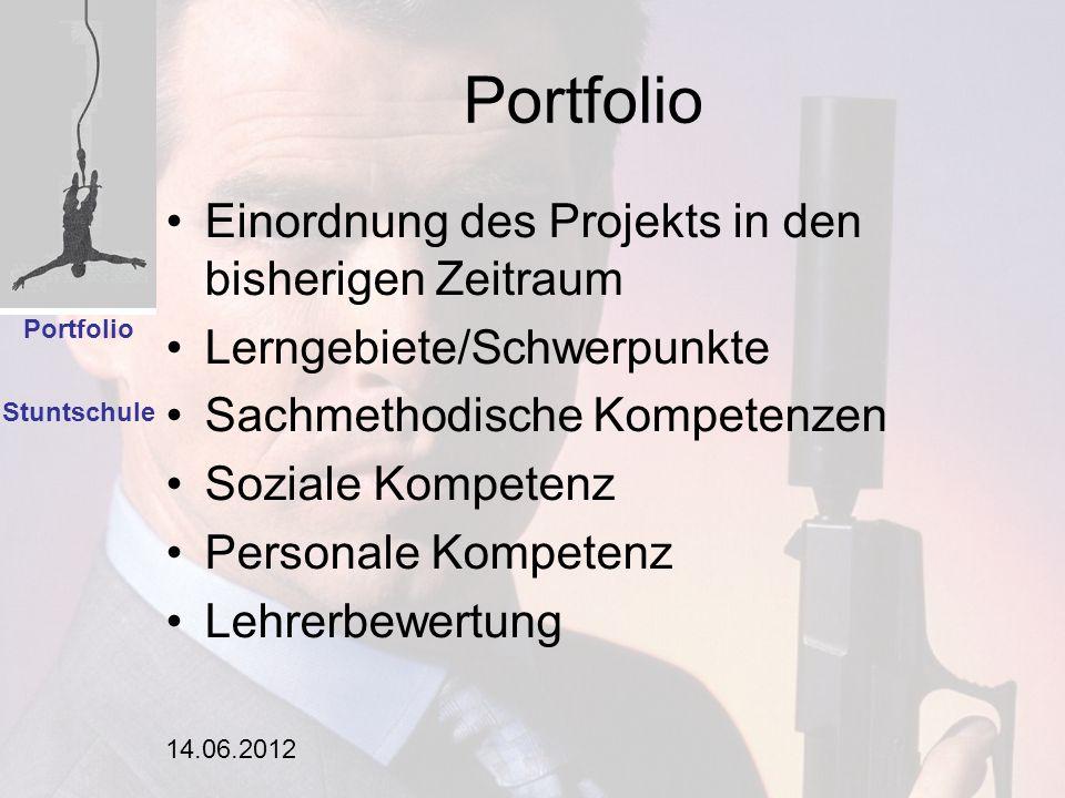14.06.2012 Portfolio Einordnung des Projekts in den bisherigen Zeitraum Lerngebiete/Schwerpunkte Sachmethodische Kompetenzen Soziale Kompetenz Persona