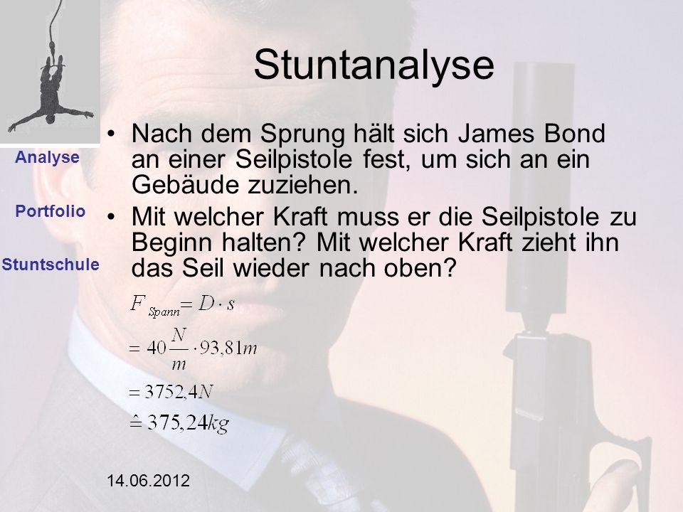 14.06.2012 Stuntanalyse Stuntschule Analyse Portfolio Nach dem Sprung hält sich James Bond an einer Seilpistole fest, um sich an ein Gebäude zuziehen.