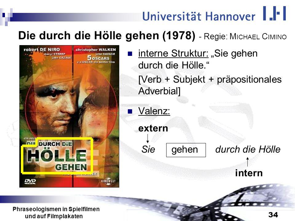Phraseologismen in Spielfilmen und auf Filmplakaten 34 Die durch die Hölle gehen (1978) - Regie: M ICHAEL C IMINO interne Struktur: Sie gehen durch di