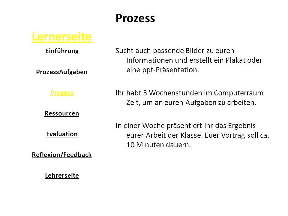 Lernerseite Prozess Sucht auch passende Bilder zu euren Informationen und erstellt ein Plakat oder eine ppt-Präsentation.