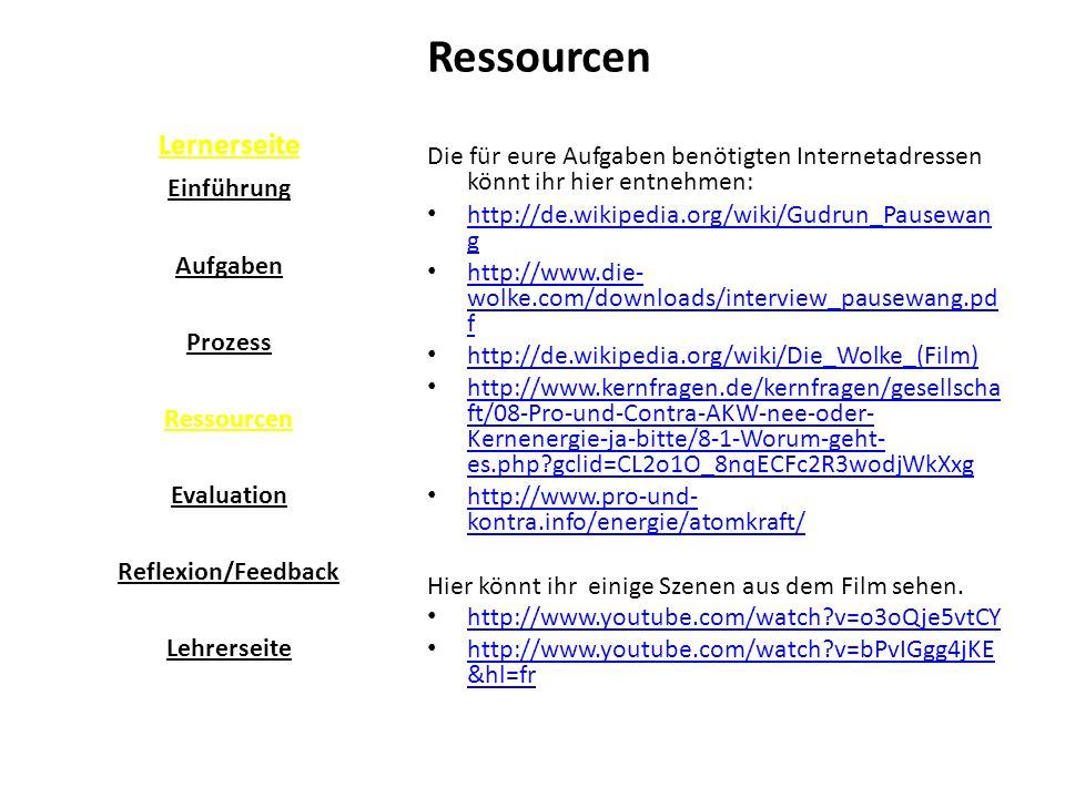 Lernerseite Ressourcen Die für eure Aufgaben benötigten Internetadressen könnt ihr hier entnehmen: http://de.wikipedia.org/wiki/Gudrun_Pausewan g http://de.wikipedia.org/wiki/Gudrun_Pausewan g http://www.die- wolke.com/downloads/interview_pausewang.pd f http://www.die- wolke.com/downloads/interview_pausewang.pd f http://de.wikipedia.org/wiki/Die_Wolke_(Film) http://www.kernfragen.de/kernfragen/gesellscha ft/08-Pro-und-Contra-AKW-nee-oder- Kernenergie-ja-bitte/8-1-Worum-geht- es.php?gclid=CL2o1O_8nqECFc2R3wodjWkXxg http://www.kernfragen.de/kernfragen/gesellscha ft/08-Pro-und-Contra-AKW-nee-oder- Kernenergie-ja-bitte/8-1-Worum-geht- es.php?gclid=CL2o1O_8nqECFc2R3wodjWkXxg http://www.pro-und- kontra.info/energie/atomkraft/ http://www.pro-und- kontra.info/energie/atomkraft/ Hier könnt ihr einige Szenen aus dem Film sehen.