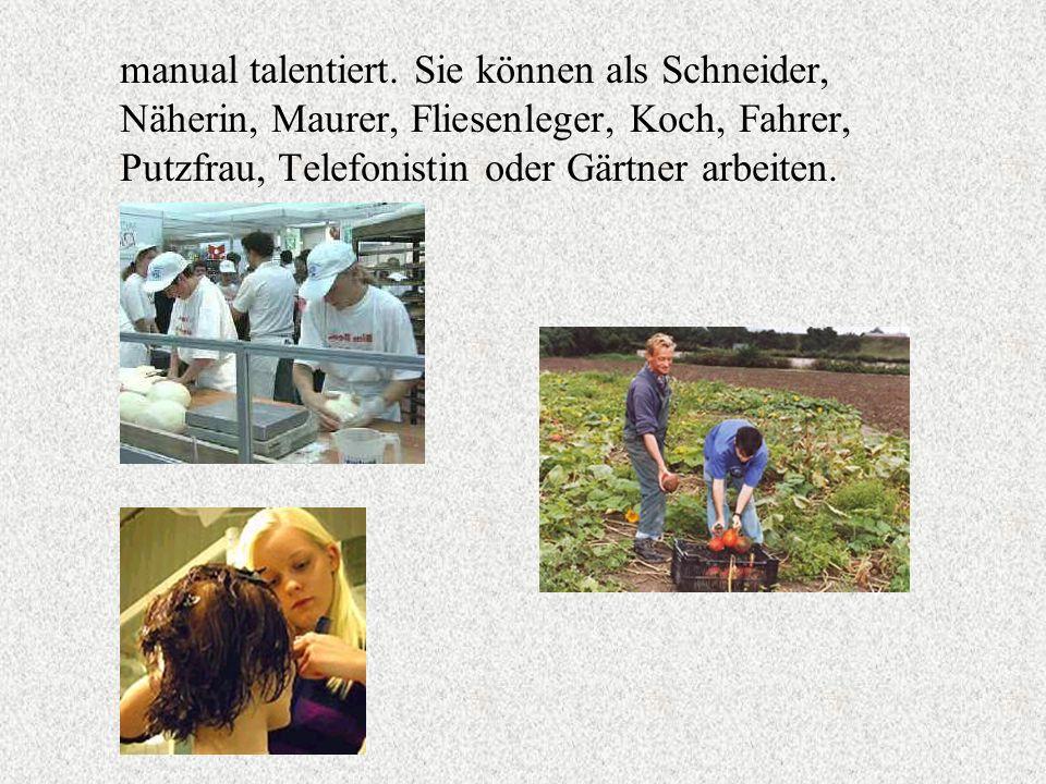 manual talentiert. Sie können als Schneider, Näherin, Maurer, Fliesenleger, Koch, Fahrer, Putzfrau, Telefonistin oder Gärtner arbeiten.