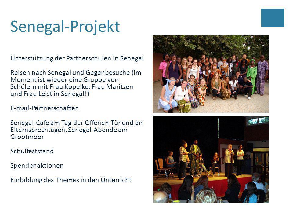 Senegal-Projekt Unterstützung der Partnerschulen in Senegal Reisen nach Senegal und Gegenbesuche (im Moment ist wieder eine Gruppe von Schülern mit Fr