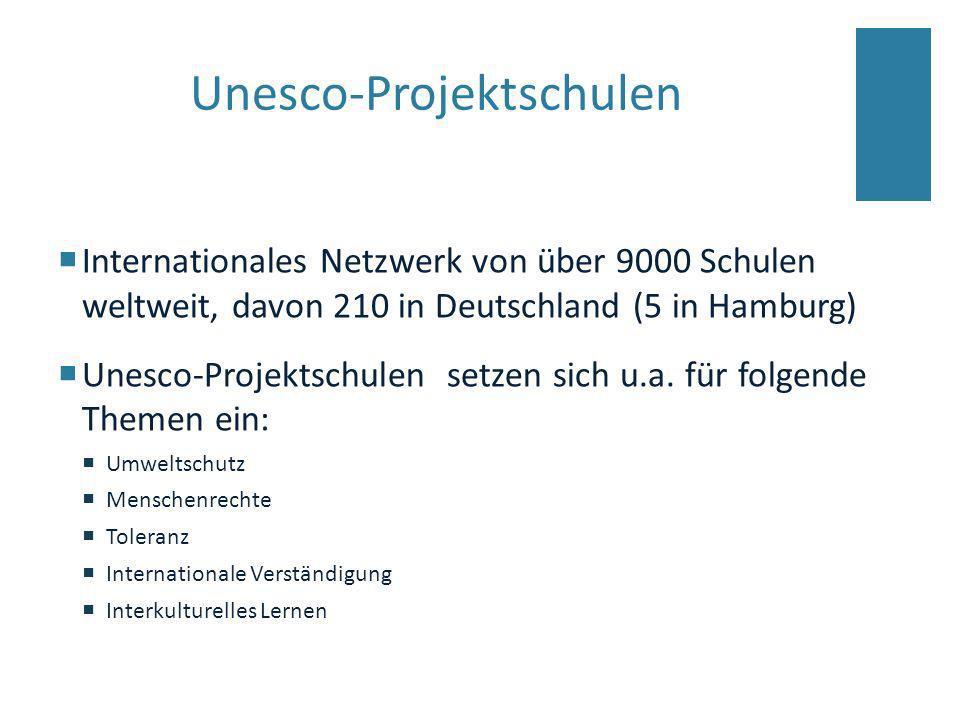 Unesco-Projektschulen Internationales Netzwerk von über 9000 Schulen weltweit, davon 210 in Deutschland (5 in Hamburg) Unesco-Projektschulen setzen si