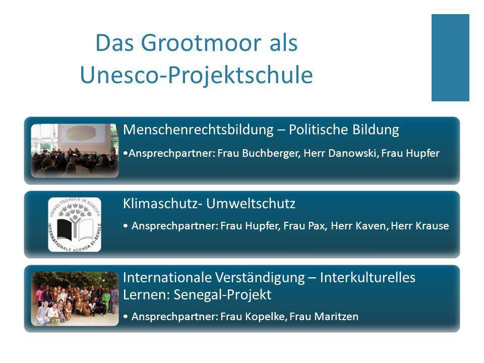 Das Grootmoor als Unesco-Projektschule Menschenrechtsbildung – Politische Bildung Ansprechpartner: Frau Buchberger, Herr Danowski, Frau Hupfer Klimasc