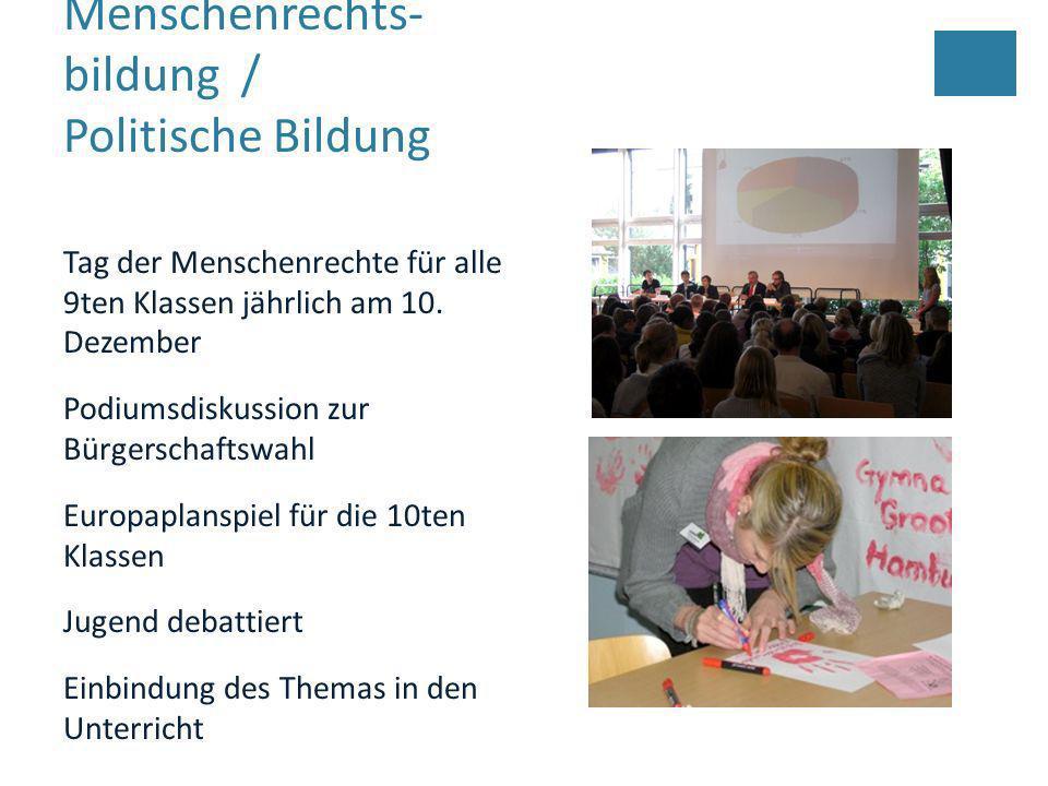Menschenrechts- bildung / Politische Bildung Tag der Menschenrechte für alle 9ten Klassen jährlich am 10. Dezember Podiumsdiskussion zur Bürgerschafts
