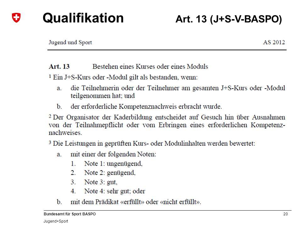 20 Bundesamt für Sport BASPO Jugend+Sport Qualifikation Art. 13 (J+S-V-BASPO)