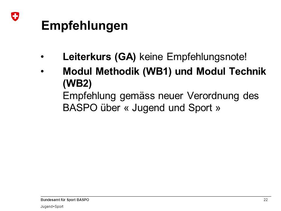 22 Bundesamt für Sport BASPO Jugend+Sport Empfehlungen Leiterkurs (GA) keine Empfehlungsnote! Modul Methodik (WB1) und Modul Technik (WB2) Empfehlung