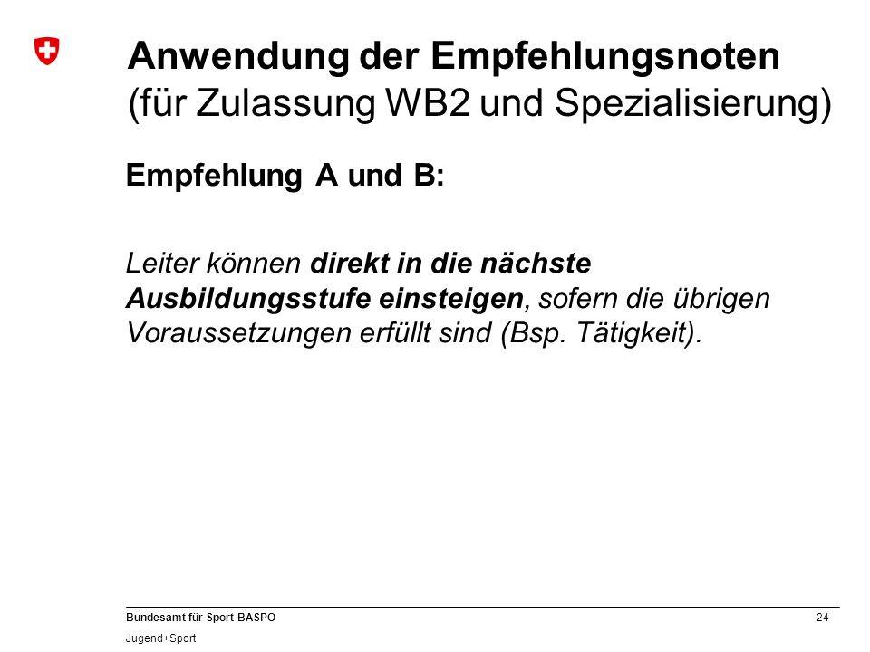 24 Bundesamt für Sport BASPO Jugend+Sport Anwendung der Empfehlungsnoten (für Zulassung WB2 und Spezialisierung) Empfehlung A und B: Leiter können dir