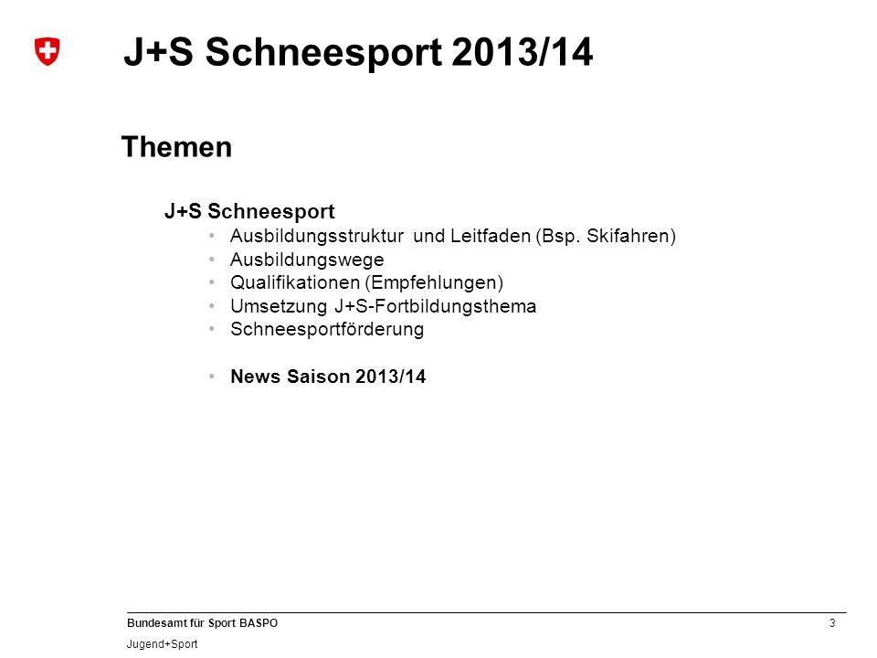3 Bundesamt für Sport BASPO Jugend+Sport J+S Schneesport 2013/14 Themen J+S Schneesport Ausbildungsstruktur und Leitfaden (Bsp. Skifahren) Ausbildungs