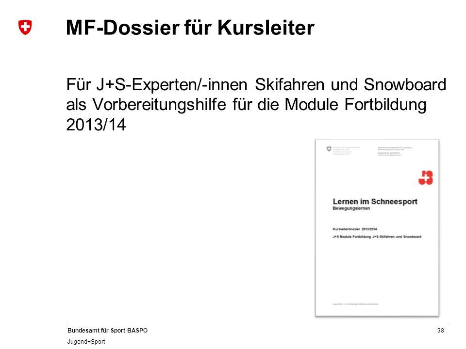 38 Bundesamt für Sport BASPO Jugend+Sport MF-Dossier für Kursleiter Für J+S-Experten/-innen Skifahren und Snowboard als Vorbereitungshilfe für die Mod