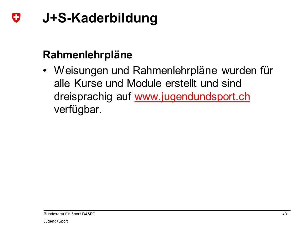 48 Bundesamt für Sport BASPO Jugend+Sport J+S-Kaderbildung Rahmenlehrpläne Weisungen und Rahmenlehrpläne wurden für alle Kurse und Module erstellt und