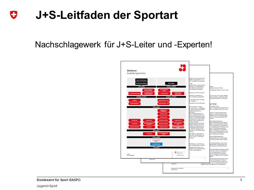 16 Bundesamt für Sport BASPO Jugend+Sport SVEB-Zertifikat (Stufe 1) Angebot Support bei Interesse am Eidg.