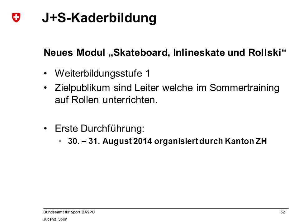 52 Bundesamt für Sport BASPO Jugend+Sport J+S-Kaderbildung Neues Modul Skateboard, Inlineskate und Rollski Weiterbildungsstufe 1 Zielpublikum sind Lei