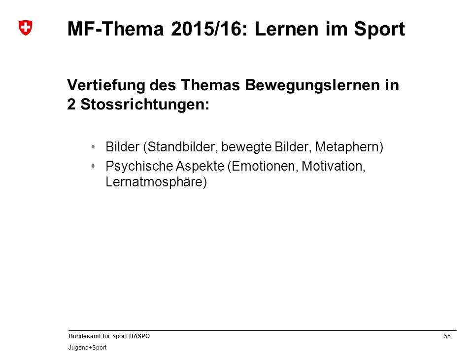 55 Bundesamt für Sport BASPO Jugend+Sport MF-Thema 2015/16: Lernen im Sport Vertiefung des Themas Bewegungslernen in 2 Stossrichtungen: Bilder (Standb