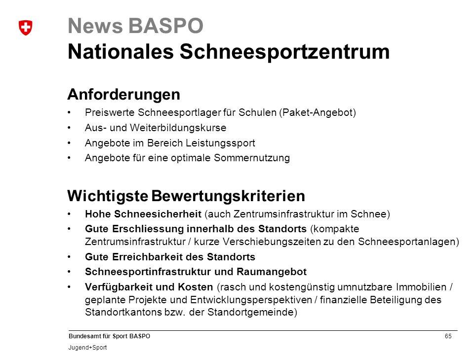 65 Bundesamt für Sport BASPO Jugend+Sport News BASPO Nationales Schneesportzentrum Anforderungen Preiswerte Schneesportlager für Schulen (Paket-Angebo