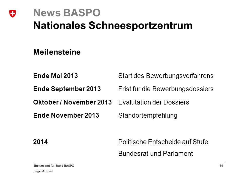 66 Bundesamt für Sport BASPO Jugend+Sport News BASPO Nationales Schneesportzentrum Meilensteine Ende Mai 2013Start des Bewerbungsverfahrens Ende Septe