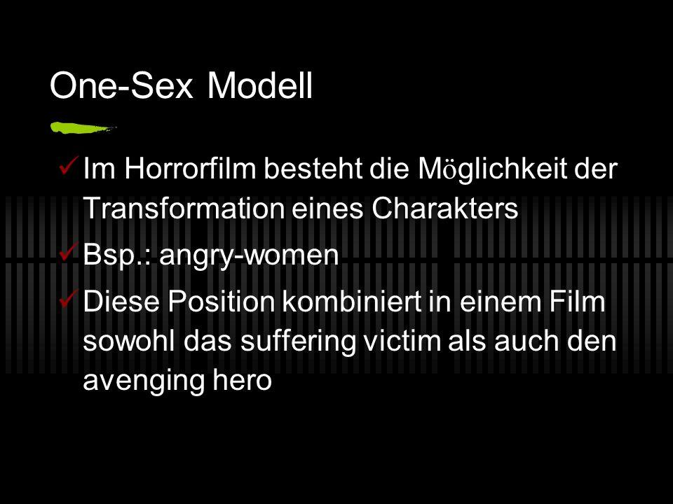 One-Sex Modell Im Horrorfilm besteht die M ö glichkeit der Transformation eines Charakters Bsp.: angry-women Diese Position kombiniert in einem Film s