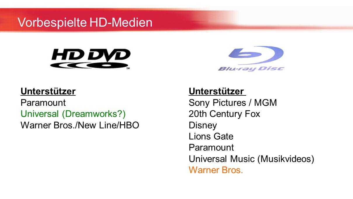 Vorbespielte HD-Medien Unterstützer Paramount Sony Pictures / MGM Universal (Dreamworks?) 20th Century Fox Warner Bros./New Line/HBO Disney Lions Gate