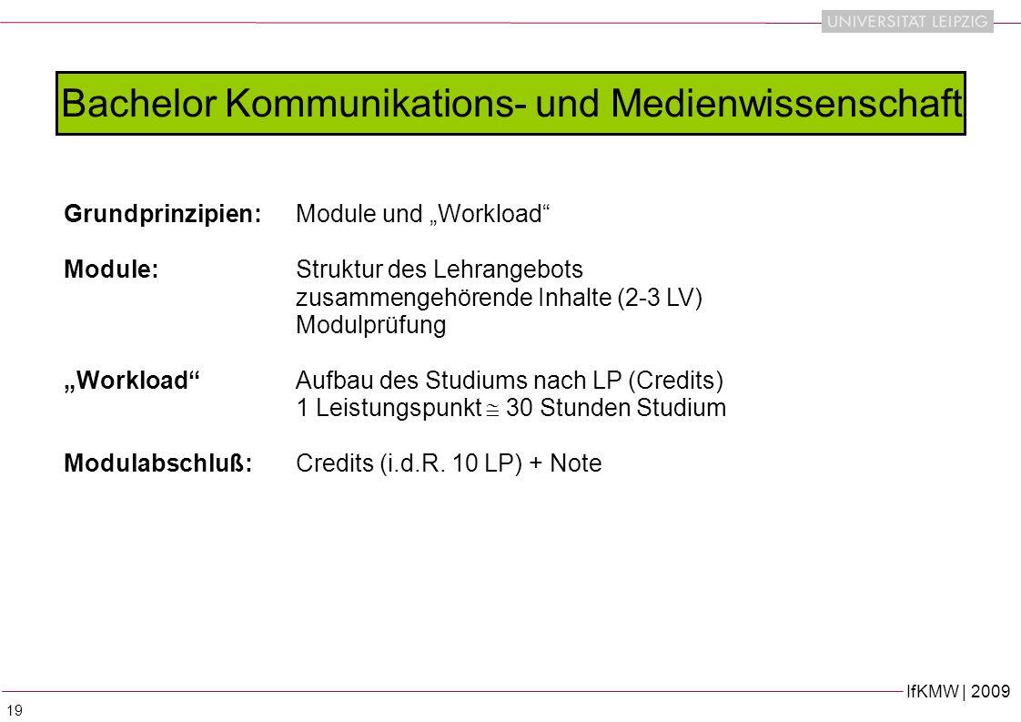 IfKMW | 2009 19 Bachelor Kommunikations- und Medienwissenschaft Grundprinzipien: Module und Workload Module: Struktur des Lehrangebots zusammengehörende Inhalte (2-3 LV) Modulprüfung WorkloadAufbau des Studiums nach LP (Credits) 1 Leistungspunkt 30 Stunden Studium Modulabschluß:Credits (i.d.R.