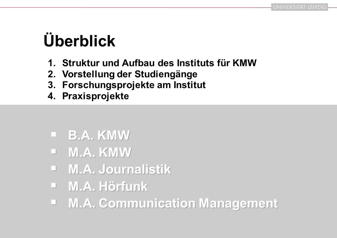 IfKMW | 2009 2 Überblick 1.Struktur und Aufbau des Instituts für KMW 2.Vorstellung der Studiengänge 3.Forschungsprojekte am Institut 4.Praxisprojekte